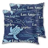 Qtchenglj Taie d'oreiller imprimée 3D, Bleu California Cities Animaux Los Angeles Sa, taie d'oreiller Moderne pour canapé-lit Ensemble de Voiture décor à la Maison 18 'x 18',2 pièces
