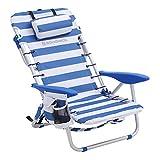 SONGMICS Chaise de Plage, Pliante, Aluminium, avec Oreiller, Pliable, inclinable, Portable comme Sac à Dos, Chaise d'extérieur, Rayure Bleue et Blanche GCB62BU