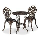 Relaxdays Ensemble bistrot, 3 pièces, Table, 2 chaises, Balcon, terrasse, Set Vintage, Fonte d'alu, Bronze