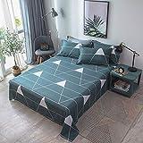 PENVEAT Ensemble de draps de lit imprimé géométrique Triangle Ins Modern 100% Coton, Drap Plat 160 * 230cm, 180 * 130cm, 200 * 230cm, Taille 230 * 250cm, Rouge, 2pcs taie d'oreiller