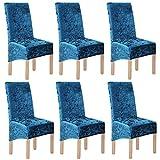 LANSHENG Velours écrasé 2/4/6 Pcs XL Housses de Chaise pour chaises de Salle à Manger pour la décoration de fête de Banquet de Mariage (Bleu-G,6 Pack(XL))