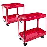2x Arebos Chariot servante d'atelier Chariot à Outil | 2 étages | Acier | Large capacité de charge jusqu'à 100 kg | Rouge