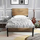 ADORNEVE Cadre de lit avec tête de lit et Cadre métallique Robuste à Lattes, 12,8 cm Espace de Rangement, Noir-Brun ( 90x200cm )