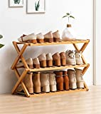 Rack Chaussures Portable Pliable Organisateur De Stockage, Installation Gratuite, Bambou Porte-Chaussures, Économie D'espace De Stockage Tour Shoe Shoe Cabinet,3 Layers
