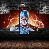 HFSDW Impression sur Toile Image 5 Pieces Tableau Tableaux Decoration Murale Batman HD Art Peinture Affiche pour La Mur Accueil Décorations Idée Cadeau(80x150cm)