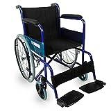 Mobiclinic, Alcázar, Fauteuil roulant pliant, orthopédique, fauteuil roulant pour les personnes âgées et les handicapés, frein sur leviers, accoudoirs fixes et repose-pieds pliants, ultra-léger, bleu