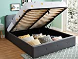 HOMIFAB Lit Coffre 160x200 cm Anthracite avec tête de lit + sommier à Lattes – Collection Kate
