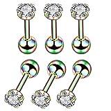 6 PCS 4mm Femmes Ronde Boule En Acier Inoxydable Boucles D'oreilles Clous Cubique Zircon Barbell Boucle D'oreille Ensemble Helix Piercing pour Tragus Cartilage Oreille (Coloré)