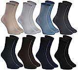 Rainbow Socks - Femme Homme Chaussettes Diabetique Sans Pression - 8 Paire - Beige Marron Noir Graphite Bleu Marine Kaki Bleu Gris - Taille 39-41