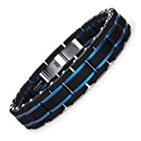 COOLMAN Bracelet Homme Bijoux Hommes Bracelets Homme Acier Inoxydable Bleu & Noir Réglable 16.5-17.5cm