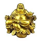JSZMD Happy Buddha Statue Lucky et Le Bonheur, Dieu de la Richesse Statue, Laiton Maitreya Assis sur Une Chaise de l'empereur Sculpture