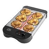 Cecotec Grille-pain Plat Horizontal Turbo EasyToast Basic. 3 Résistances en Quartz, 6 Niveaux de Puissance, Plateau Ramasse-miettes, Espace Range-câbles, Finitions en plastique Thermorésistant, 900W