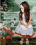 Hanzeze Kit de peinture diamant 5D Chaise longue de jardin fille et chat - faire soi-même avec strass en cristal broderie au point croix de toile pour maison mur décoration 30x40cm