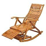 Fauteuils inclinables relaxants Chaise Longue à Bascule en Bambou Chaises Longues Fauteuil Pliable pour Le Salon avec Balcon Assis et couché à Double Usage