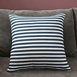 Taies d'oreillers Dh4030 Double-sided pillow home sofa cushion girl cute car bedside backrest lumbar pillow cushion cover square backrest-45*45 (pillowcase plus pillow core)_Double-sided blue stripes