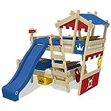 WICKEY Lit superposé CrAzY Castle Lit double entfants 90x200 Lit mezzanine avec toboggan, échelle à grimper, toit et sommier à lattes, rouge-bleu + toboggan bleu