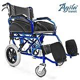 AIESI® Fauteuil Roulant pliable super-léger en aluminium avec frein pour les handicapés et les personnes âgées AGILA TRANSIT # Double système de freinage # Ceinture de sécurité # Garantie 24 mois
