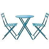 CSQ Tables et Chaises, 3 Pièces Manchette Pliante Métal Extérieur Jardin Cour Balcon Meubles Petite Table à Thé Combinaison 1 Table & 2 Chaises | 5 Couleurs Table de thé