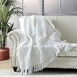 Couverture épaisse en tricot blanc pour canapé, chaise, lit, style bohème chic texturé avec franges décoratives, 127 x 152 cm