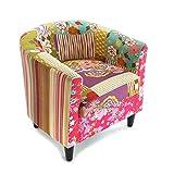 Versa Rose Patchwork Fauteuil à Oreilles Chaise rembourrée avec accoudoirs Boutons, Coton, Rose, Vert, Bleu, Violet et Beige
