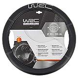 WRC 007380 Couvre-Volant Noir Effet Cuir, Brodé Argent, UNIVERSEL, 35 à 38 cm