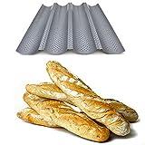 Plaque de cuisson moule pour 4 baguettes - Anti-adhésif - Plaque à pain perforée - Réversible pour biscuits et tuiles aux amandes !!!!