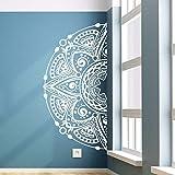 Doux décor à la maison moitié Mandala fleur vinyle sticker mural amovible Mandala autocollant tête de lit moitié Mandala mur fenêtre décoration murale A4 84x42 cm