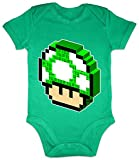 Hariz Body pour bébé à manches courtes 1 Up Champignon Rétro Gamer Plus Cartes cadeau Grenouille Quiet Vert 3-6 mois