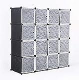 ASUKALE Penderie en plastique pliable avec portes 10 cubes et 2 suspensions