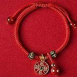 Bracelet, Feng Shui Richesse Amulette Bracelet Argent Pendentif Chat Chanceux Ruyi Lock Gong XI FA CAI Pendentif Bracelet Tressé Réglable Cinabre Perles Agate Rouge Attirent Bonne Chance,
