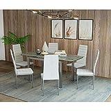 Mobilier Deco Table à Manger en Verre avec 2 rallonges Extensible + 6 chaises Blanche Born