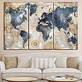 Toile Affiche murale HD Imprimer 3 Panneau Aquarelle Peinture Grand Planisphère mur Canapé modulable Art Image For Living Canvas Peinture Chambre (Color : White, Size (Inch) : 40x80x3p)