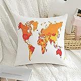 Taie d'oreiller carré décoratif Carte du monde des États-Unis Pays Frontières rouges France Continent Résumé mondial sur le modèle Housse de coussin de transport pour décoration de canapé-lit, 16 'x