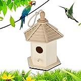 Liyes Grand nichoir pour oiseaux, nichoir à oiseaux, boîte à oiseaux, boîte en bois, maison de campagne, cabane de bois pour hirondelles B