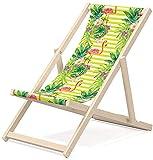 Novamat Chaise longue pliante en bois Feuilles vertes.