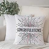 Taie d'Oreiller 45 x 45 cm,Décor de graduation, texte de félicitations avec style rétro, approbation de la salve de rayons de soleil,avec Fermeture à glissière Invisible pour Lavable Housse de Coussin