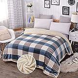Plaid Couverture floue réversible, double couche couverture chaude douce et confortable for l'hiver, Couverture Fluffy Bed and Sofa (Couleur : Bleu, Taille : California king)