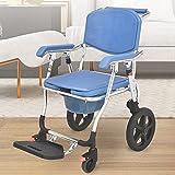 Chaise de bain pour femme enceinte, chaise percée, tabouret de douche siège WC antidérapant roulettes chaise de nuit aide bain accoudoir dossier seau toilette pour personnes âgées handicapée