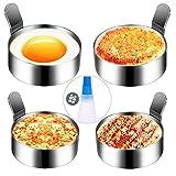 Hanamichi Anneau d'oeuf, 4pcs Inoxydable Omelette Moule Cuisson Moule à oeufs frits antiadhésif Outil de cuisson métal annulaire pour muffins aux œufs/crêpes/omelettes(bouteille d'huile silicone)