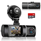 Abask Caméra de Voiture avec 32G Carte SD, 170° Grand Angle Avant et 140° Grand Angle Cabine Full HD Double 1080P Dash Cam, Capteur G, Enregistrement en Boucle, HDR, Détection de Mouvement