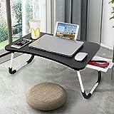 Support pour ordinateur portable avec pieds pliables, tiroir et porte-gobelet Table de lit pour ordinateur portable Convient pour une utilisation sur un canapé ou au sol Adapté pour les enfants