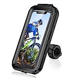 LUROON Support Téléphone Vélo Moto Scooter, Universel Ecran Tactile Etanche Rotation à 360 VTT Support Guidon Housse De Téléphone, pour 4.5-6.8 Pouces Smartphones (Noir, S)