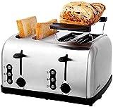 Appareils Électroménagers à 4 tranches Grille-pain - Maison Petit déjeuner automatique en acier inoxydable machine à pain, amovible Tiroir ramasse-miettes, décongeler et Réchauffer Fonctions de pain G
