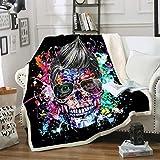 DFTY Skull Fleece Blanket Super Doux Couverture Polaire Motif tête de Mort et Fleurs Impression Numérique 3D pour Enfants et Adultes (04,150cmx200cm)