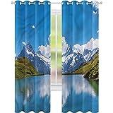 Rideaux occultants pour chambre à coucher Paysage Neige La Reine des Neiges Lac Suisse L52 x L72 Rideaux décoratifs pour salon