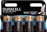Duracell Ultra, lot de 4 piles alcalines type D 1,5 Volts, LR20 MX1300