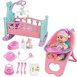 deAO Set de poupée de 15 Accessoires Miniatures – Un Berceau, Une Chaise Haute, des Accessoires pour l'Alimentation de bébé Inclus.