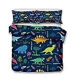 Parure de lit avec Housse de Couette 3D Dinosaure Animal Hommes Jeunes Garçons Enfants Simple/Double/King Housse de Couette et Taies d'oreiller (Style 5#, 140x200cm)