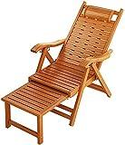 QIANG Chaise Longue Bois Pliable, Bambou Chilienne Jardin Exterieur avec Repose-Pieds, Bain De Soleil Pliable pour Plage Balkon
