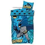 Parure de lit Batman - 135 x 200 cm - 80 x 80 cm - Housse de couette pour enfant - 135 x 200 cm - Coton - Certifié Öko-Tex Standard 100 - Taille allemande